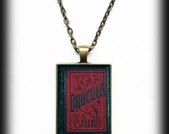 Dracula Book Necklace, Antique Book Cover Pendant, Gothic Jewelry, Bram Stoker's Dracula, Alternative Jewelry, Gothic Horror Jewelry