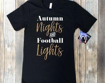football mom shirts, football mom shirts with bling, bling football mom, Autumn nights and football lights, football tshirt, football shirt