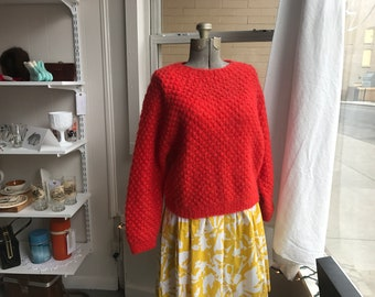 Vintage Bright Orange Mohair Hand Knit Mary Jane Marcasiano Bergdorf Goodman Pullover Sweater Jumper