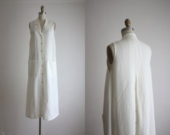 bone white linen maxi dress