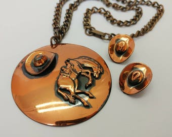 1960s Vintage Copper Cowboy Theme Necklace & Clip On Earring Set- Western Wild West Rodeo Horse Bucking Bronco Ranch Statement Piece
