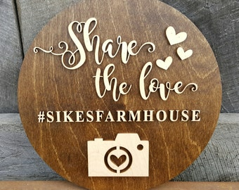 Wedding Hashtag Sign - Wooden Wedding Sign - Share The Love Sign