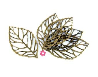 x 10 print leaf filigree pendant bronze 54x32mm (74(d))
