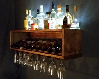 Lighted Mini Bar and Wine Bottle Rack - Wine Storage Display