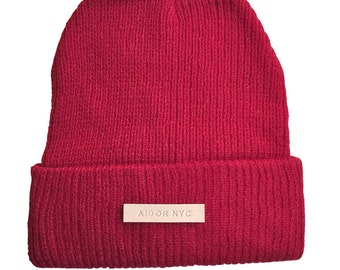 Aidor nyc knitted hat in cherry | Free Shipping | winter knitted hat
