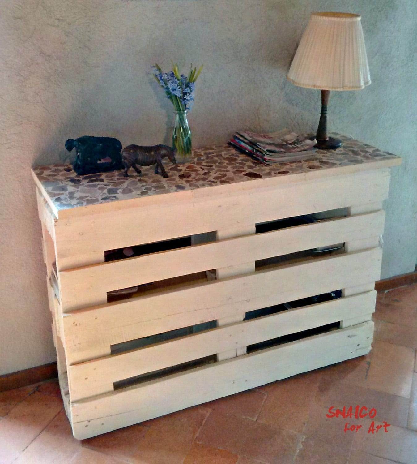Mobile tv mobile bar pallet bianco piano con mattonelle - Mobile tv fai da te ...