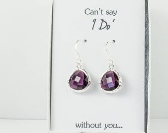 Amethyst Silver Earrings, Purple Earrings, Plum Wedding Jewelry, Bridesmaid Earrings, Wedding Accessories, Bridal Earrings, Bridesmaid Gift