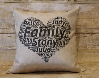 "Customized Family Names Throw Pillow 18"" x 18"" Mother's Day Heart"