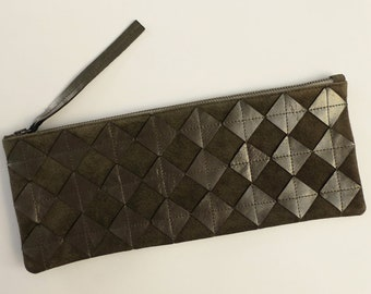 Gunmetal leather on suede clutch. Repurposed silver leather diamond chips on gray suede, gunmetal zipper, fully lined.