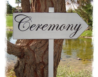 CeReMoNy SiGn - Large Distressed DiReCTioNaL WeDDiNg SiGnS - CLaSSiC StyLe - Custom Wedding Arrow - 4ft Stake - 20 X 7 - Distressed White