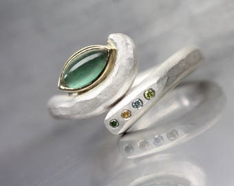 Green Tourmaline Diamond Engagement Ring Silver 14k Yellow Gold Blue Orange Accent Gems 2 in 1 Bridal Band Unique Protective Eye - Ojo Verde