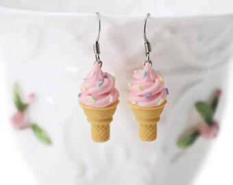 Handmade Pink Ice Cream Sugar Cone Earrings Topped with Sprinkles. Ice cream Earrings sprinkles jewelry rainbow jewelry Rainbow Earrings