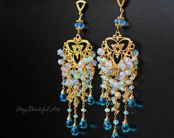 Ethiopian Opal Earrings Chandelier Earrings Gemstone Earrings Cluster Earrings Apatite Earrings  October Birthstone Beautiful Chandeliers