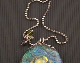 World - Fused Dichroic Glass Pendant in a Fine Silver Setting