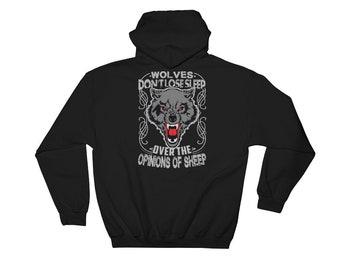 Wolf Hoodie,Black Large Hoodie Sweatshirt,Wolf Graphic Hoodie