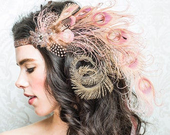 Dusty Rose Nymph Peacock Feather Flapper Headband