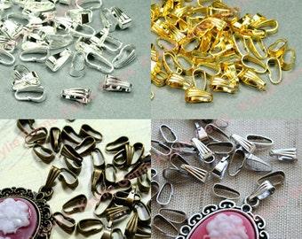 Pendant bails etsy 50 snap on pendant bail 9x35mm antique brass antique silver gold mozeypictures Images