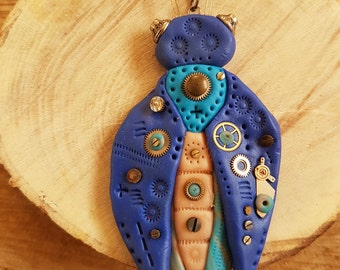 Handmade Polymer clay Steampunk blue Beetle necklace