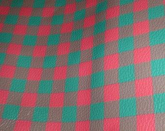 "Leather 8""x10"" MINI Buffalo Plaid GREEN and RED Cowhide Digital Print 2 oz/ 0.8 mm PeggySueAlso™ E1180-05"
