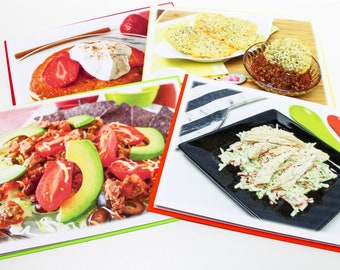Breakfast, Snack, Lunch and Dinner Recipe Greeting Card 4 Pack, 4 Recipe Card Inserts, Food Photography Art, Dianna's Easy Real Food Recipes