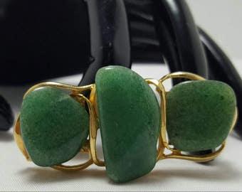 Green Stone Nugget Pin