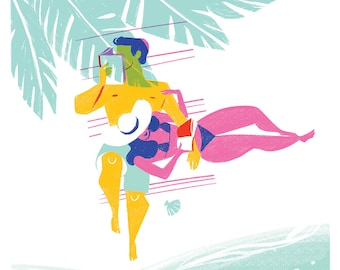 Print Couple reading on the beach, giclee illustration, honeymoon paradise island, tropical plants, just married. Pink, yellow, mint, blue