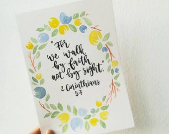 For we walk by faith not by sight/Handlettering/Aquarelle