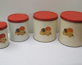 Vintage Red and Off White Canister Set With Flowers and Dishes