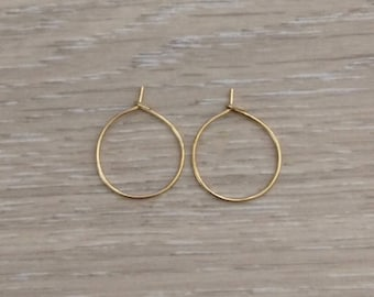 "3/4"" Gold Hoops, Endless Hoops, 20mm, Ear Wire"