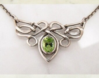 """Silver necklace with olive """"Butterfly"""""""
