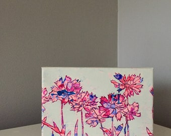 Floral Burst in Pinks - Acrylic on Canvas