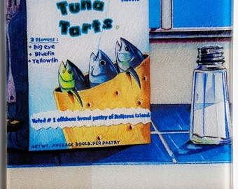 Tuna Tarts glass Cutting Board fun fishing kitchen art Pop Tarts yellowfin bluefin Boats
