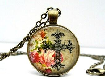 Cross Floral Necklace Glass Picture Pendant Photo Pendant (1130)
