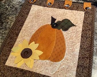 Appliqued Pumpkin and Sunflower Wall Hanging Quilt