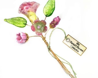 Pink, Ivory, and Light Green Lampwork Flower Headpin Bouquet. Set of six headpins.
