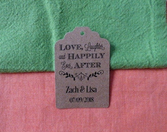 KRAFT, Love, Laughter and Happily Ever After, Wedding Favor Tags, Wedding Tags. Tags. Custom Tags. Thank you tags. Set of 25 to 300 pieces