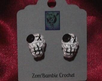 Crocheted Skull Earrings (pierced)