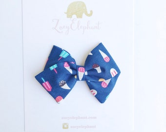 Ice Cream Bow, Blue Bow, Summer Accessories, 4th of July Bow, Baby Hair Clip, Baby Bow Headband, Baby Accessories, Baby Girl Gifts