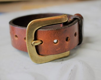 "Upcycled Leather Bracelet with Brass Buckle Closure - Size ranges from 6""-9"" Diffuser Bracelet Essential Oils"
