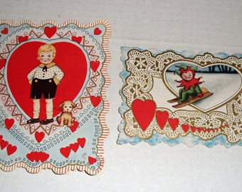 15))  Two Valentines.  Boy and Dog.  Campbell Kid on Sled.  Dolly Dingle.