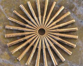 6 Antiqued Gold 25mm Star Spoke Steampunk Jewelry Parts 1463