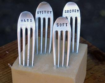 Vintage Silverware Fork Cheese / Food / Steak Markers - Set of 4