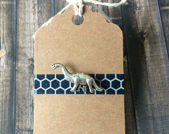 Small Brontosaurus/Apatosaurus Dinosaur Lapel Pin / Tie Tack - Silver Tone
