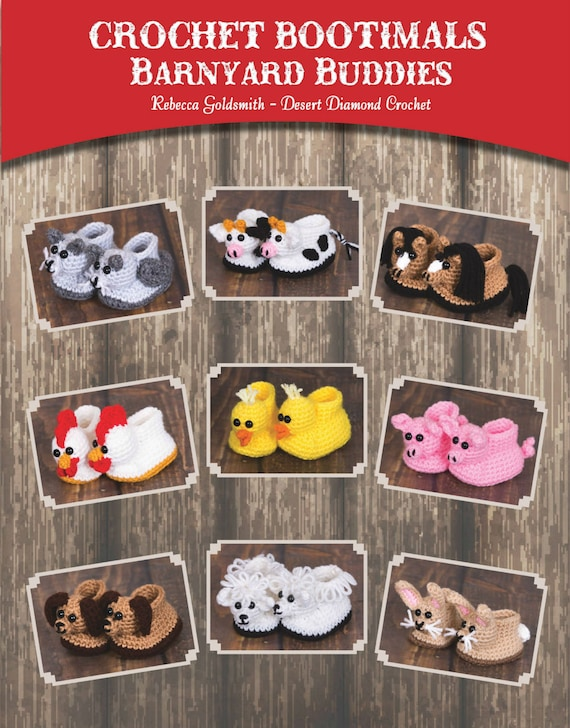eBook - Crochet Bootimals - Barnyard Buddies Book - 9 Adorable Animal Baby Booties to crochet!