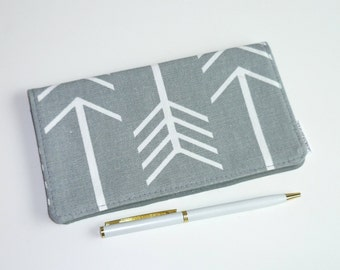 Checkbook Cover Large Arrows on Gray - Grey- Wallet - Receipt Holder - Gift For Her - Gift for Mom - Mother's Day Gift - Gifts Under 20