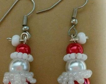 Santa earrings, Christmas earrings