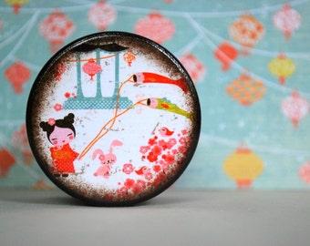 Kawaii Large Wood Box / Flying Fish Kites / Powder Box / Storage Box / Jewelry Box / Coin Box / Wooden Boxes / Asian / Wood Boxes / Handmade