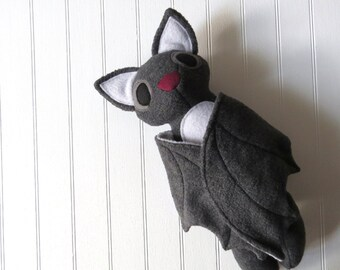 Gray Bat Plush, Bat Toy, Stuffed Bat