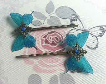 Beautiful Teal Butterfly Hair Clips