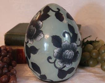 "Vintage Asian Hand Painted Blue and Green 6"" Ceramic Egg adorned with Vining Flowers"